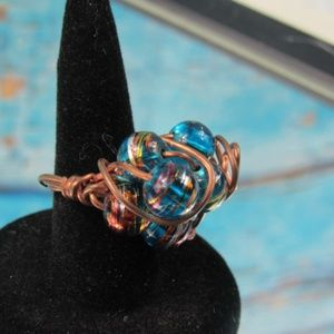Wire Wrapped Beads Statement Ring